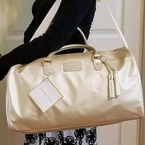 NWT MICHAEL Kors Weekend Travel Duffle Bag Gold
